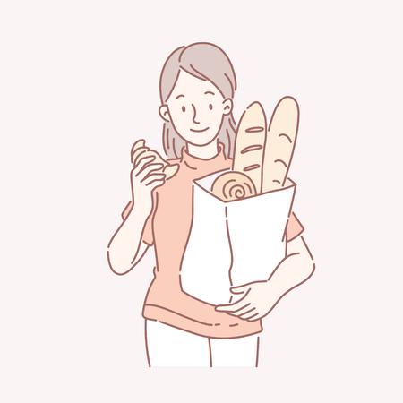 Girl holding a bag of bakery bread in line art