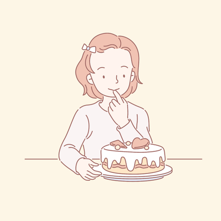 Cute little girl looking at delicious birthday cake in line art Illustration