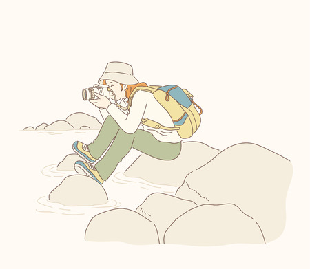 Photographer girl sitting nearby river rock in line art Illustration