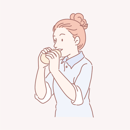 Woman with top knot eating bun in line art