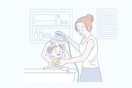 Mom washing her sons hair in bathtub, line art style