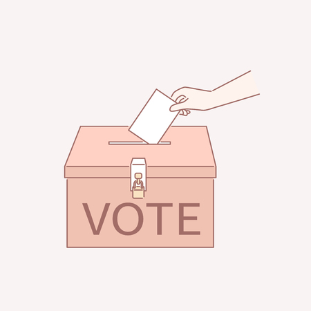 Vote your ticket into a ballot box in line art style