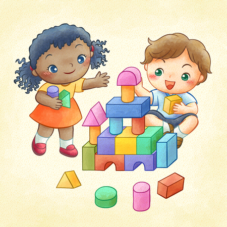 Cute children playing colorful building blocks in line art