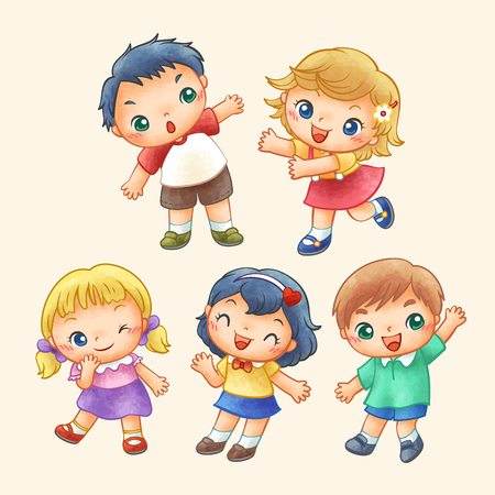 Lovely cute children in hand drawn style
