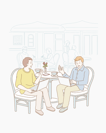Two freelancers talking jobs at open air cafe in line art Illustration