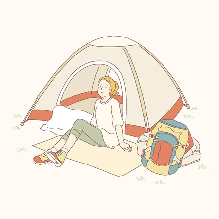 Girl sitting in front of camping tent, line art style