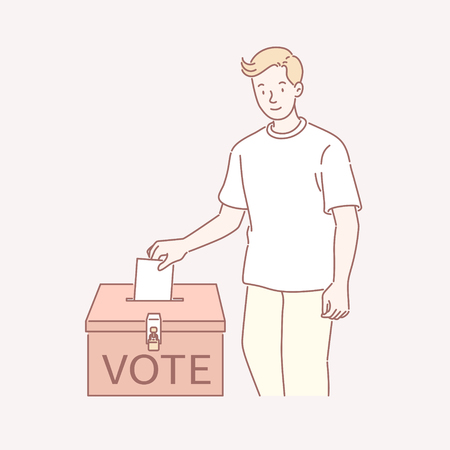 Man voting his ticket into a ballot box in line art