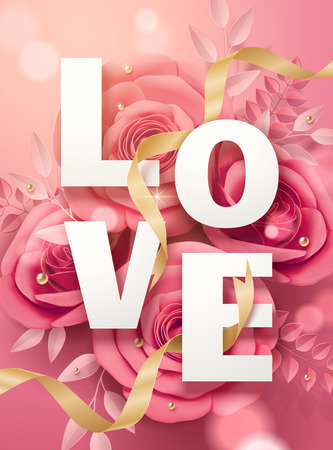 Valentines day poster with pink paper flowers and golden ribbons in 3d illustration Illustration