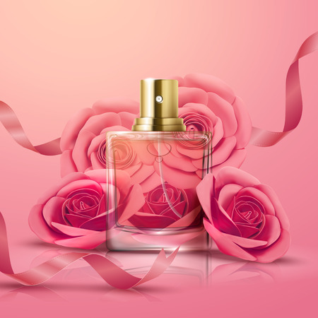 Beautiful perfume glass bottle and pink roses decorations in 3d illustration