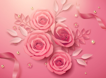 Valentines day template with pink paper flowers and ribbons in 3d illustration Illustration