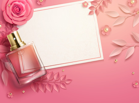 Valentines day template with pink paper flowers and perfume bottle in 3d illustration, top view