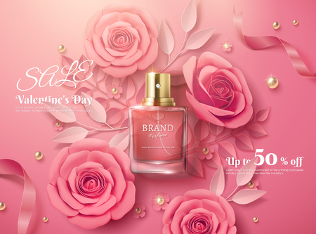 Valentines day sale template with pink paper flowers and perfume product in 3d illustration, top view