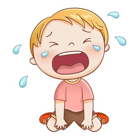 Cute little boy sobbing in blue dress