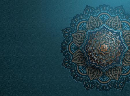 Arabesque motif design background in blue and bronze tone