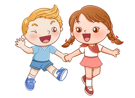 Boy and girl laughing and holding each others hand