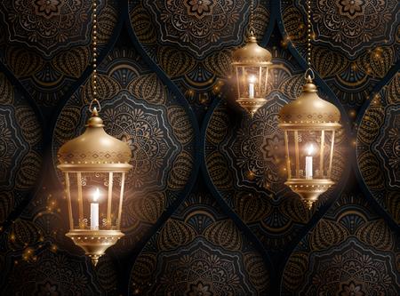 Golden arabic lanterns on arabesque pattern background