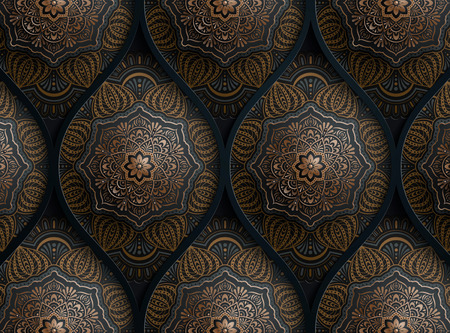 Arabesque motif design background in dark blue and bronze tone