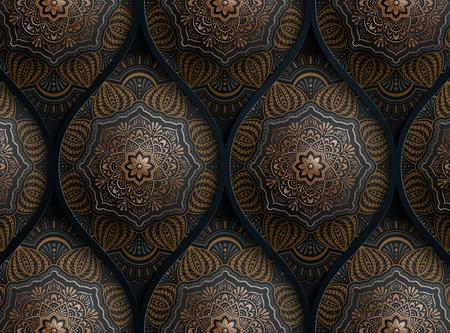 Motivhintergrund Arabeske in dunkelblau und bronzefarben