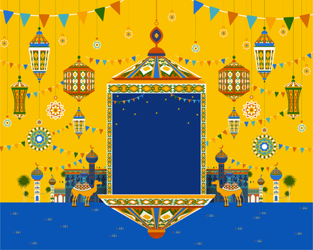 Blue and yellow tone hanging lanterns in flat design for ramadan holiday