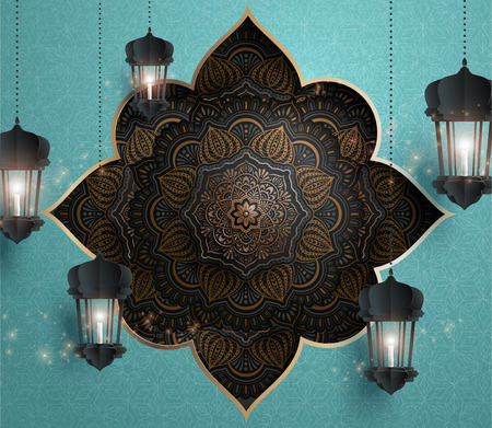 Arabesque flower pattern with hanging paper fanoos Vetores