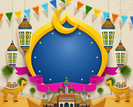 Colorful mosque and crescent in desert with copy space, paper art style