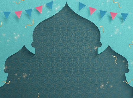 Turquoise mosque background with flags and streamers Vector Illustration