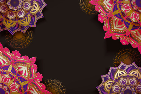 Fuchsia and purple arabesque floral pattern on brown background