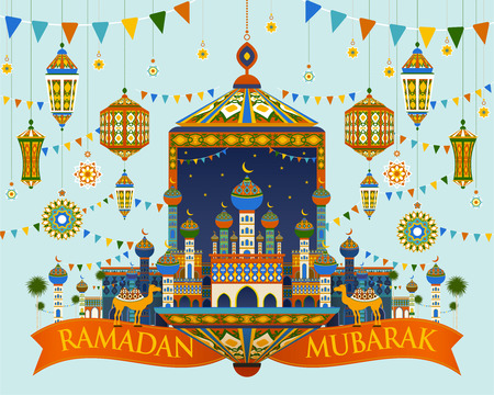 Colorful mosque town and hanging lanterns in flat design for ramadan holiday Ilustração