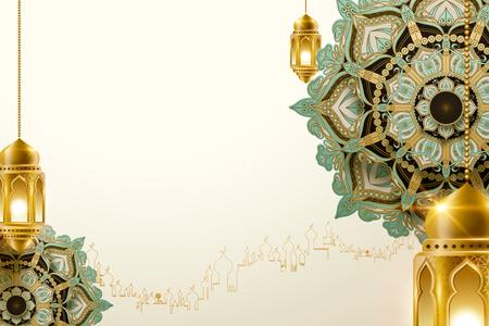 Hanging golden lanterns on beautiful arabesque background