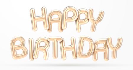 GELUKKIGE VERJAARDAG gouden folieballonzin in 3d render Stockfoto