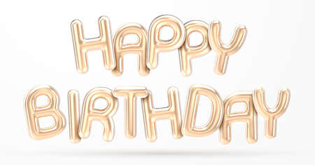 HAPPY BIRTHDAY golden foil balloon phrase in 3d render Imagens