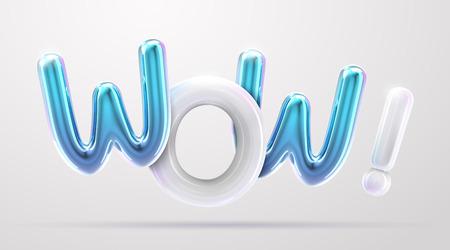 WOW blauwe en witte folieballonzin in 3d render