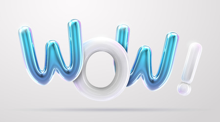 WOW blue and white foil balloon phrase in 3d render Фото со стока