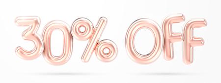 30% off rose gold foil balloon phrase in 3d render
