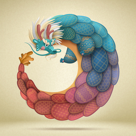 Lovely chinese dragon with colorful dragon scale
