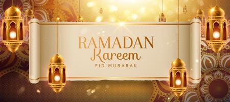 Diseño de ramadan kareem con flores arabescos dorados y linternas colgantes. Ilustración de vector