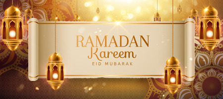 Ramadan kareem design with golden arabesque flowers and hanging lanterns