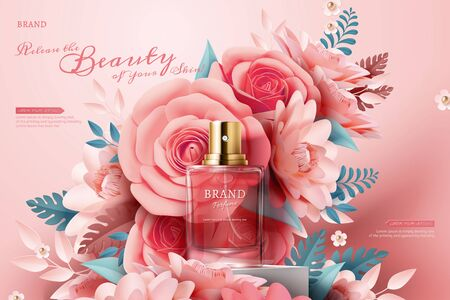 Perfume ads with light pink paper flowers on the stage in 3d illustration Illustration