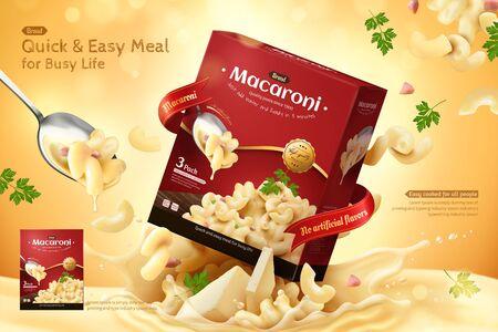 Deliziose pubblicità di maccheroni con pacchetto di prodotti che saltano fuori dalla salsa di formaggio su sfondo glitterato in illustrazione 3d Vettoriali
