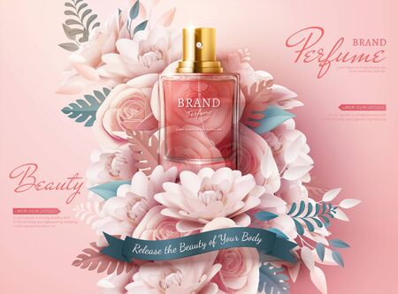 Perfume ads with light pink paper flowers in 3d illustration