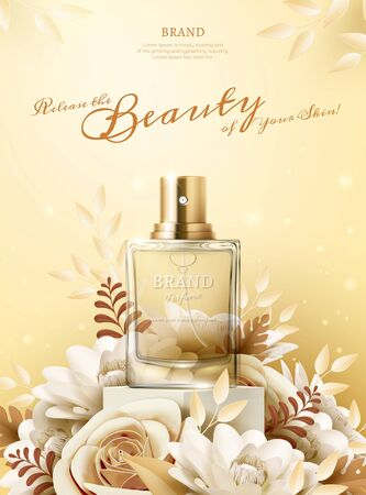 Perfume ads with light yellow paper flowers on the stage in 3d illustration Illustration