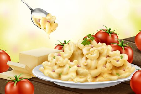 Delicious macaroni with cheese and fresh tomatoes in 3d illustration
