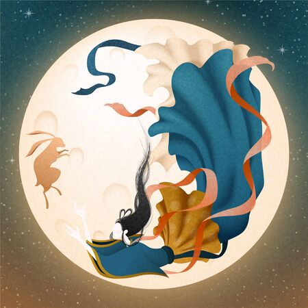 Elegant Change and jade rabbit flying upon the sky with full moon, mid autumn festival illustration 向量圖像