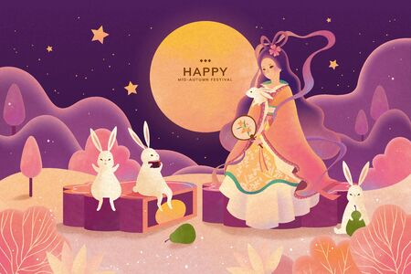 Dreamy color tone mid autumn festival, Chang'e and jade rabbit enjoy moon watching and sit on mooncake Vetores