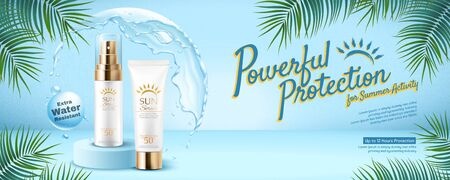 Powerful sunscreen product banner with water protective shield on summer tropical blue background in 3d illustration Ilustración de vector