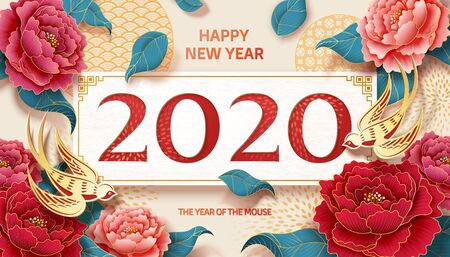 Happy lunar year with peony flower and swallow paper art design on beige background
