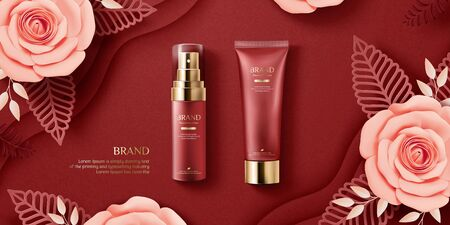 Elegant cosmetic ads with paper art blossoms on burgundy red background, 3d illustration flat lay Illustration
