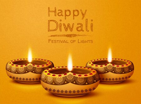 Happy diwali design with oil lamps on chrome yellow background Illustration