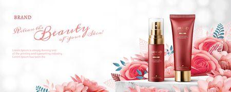 Elegant cosmetic ads with paper art blossoms on bokeh glitter background, 3d illustration Illustration