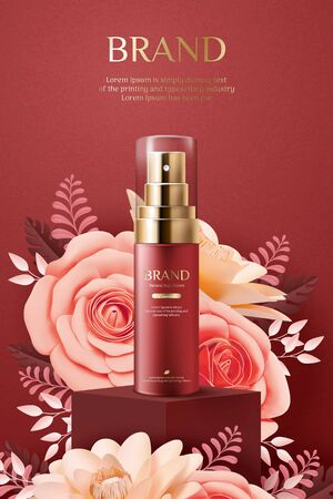 Elegant cosmetic ads with paper art blossoms on burgundy red background, 3d illustration